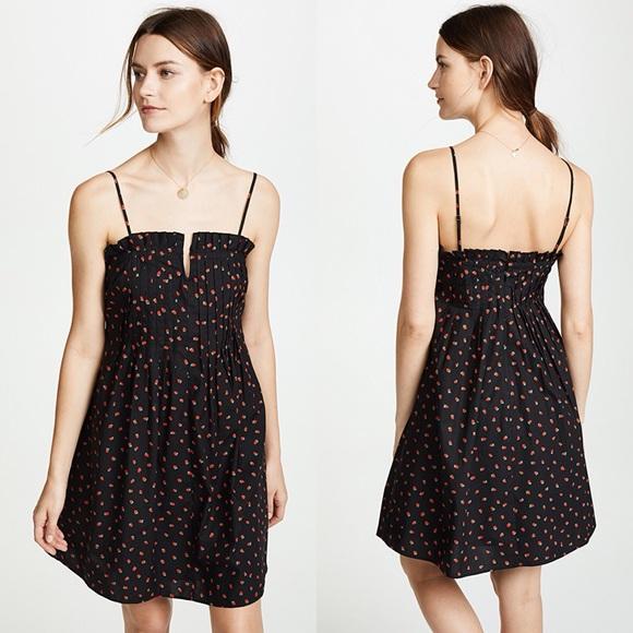8f86a9d5ba NWT MADEWELL Black Pintuck Cami Dress Strawberries